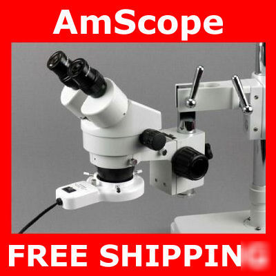 3.5X-90X industrial stereo boom microscope + ring light
